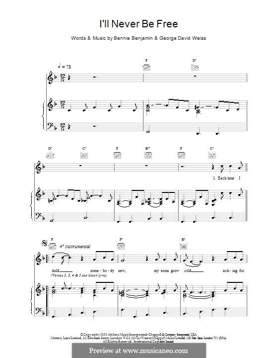 I'll Never Be Free (Van Morrison): Für Stimme und Klavier (oder Gitarre) by Bennie Benjamin, George David Weiss