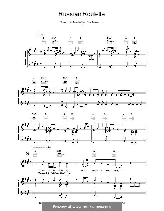 Russian Roulette: Für Stimme und Klavier (oder Gitarre) by Van Morrison