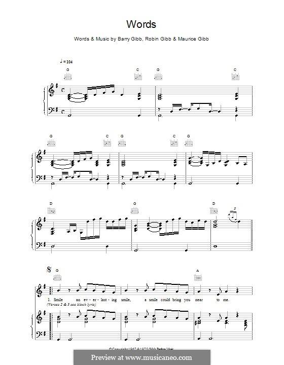 Words (The Bee Gees): Für Stimme und Klavier (oder Gitarre) by Barry Gibb, Maurice Gibb, Robin Gibb
