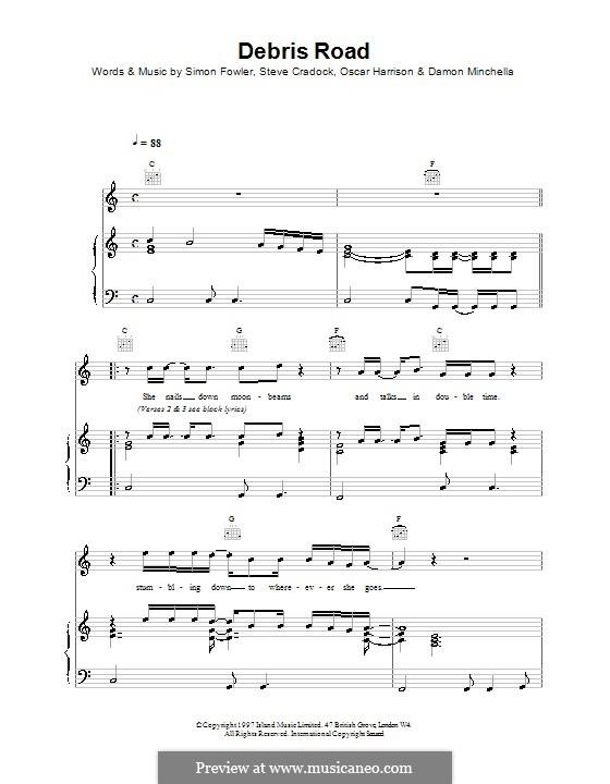 Debris Road (Ocean Colour Scene): Für Stimme und Klavier (oder Gitarre) by Damon Minchella, Oscar Harrison, Simon Fowler, Steve Cradock