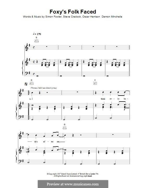 Foxy's Folk Faced (Ocean Colour Scene): Für Stimme und Klavier (oder Gitarre) by Damon Minchella, Oscar Harrison, Simon Fowler, Steve Cradock