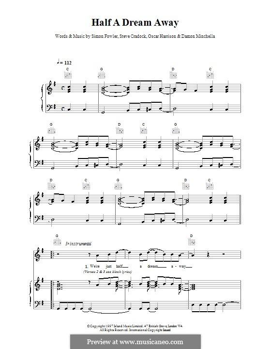 Half a Dream Away (Ocean Colour Scene): Für Stimme und Klavier (oder Gitarre) by Damon Minchella, Oscar Harrison, Simon Fowler, Steve Cradock