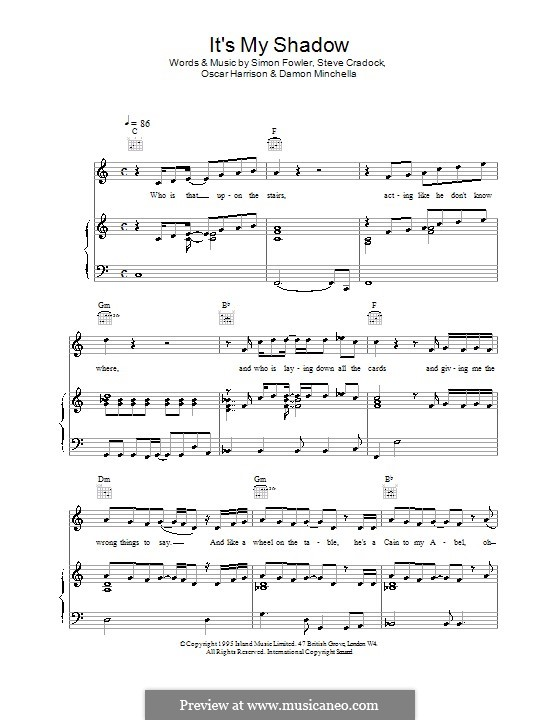It's My Shadow (Ocean Colour Scene): Für Stimme und Klavier (oder Gitarre) by Damon Minchella, Oscar Harrison, Simon Fowler, Steve Cradock