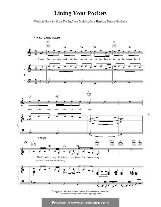 Lining Your Pockets (Ocean Colour Scene): Für Stimme und Klavier (oder Gitarre) by Damon Minchella, Oscar Harrison, Simon Fowler, Steve Cradock