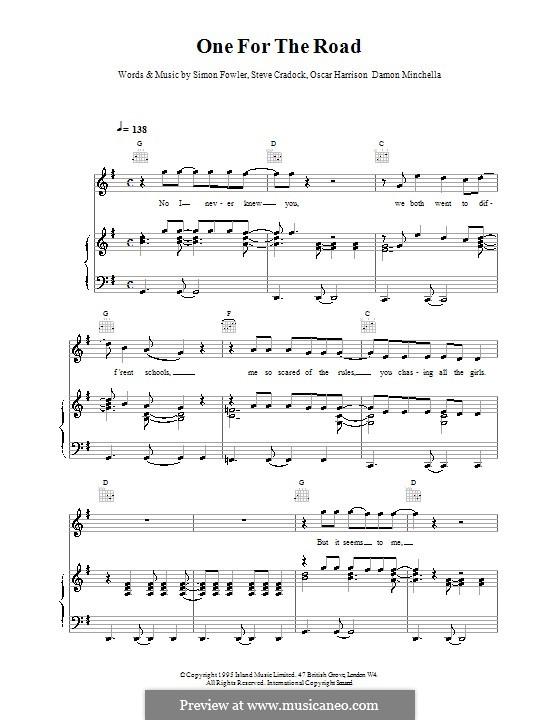 One for the Road (Ocean Colour Scene): Für Stimme und Klavier (oder Gitarre) by Damon Minchella, Oscar Harrison, Simon Fowler, Steve Cradock