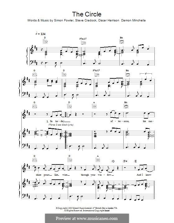 The Circle (Ocean Colour Scene): Für Stimme und Klavier (oder Gitarre) by Damon Minchella, Oscar Harrison, Simon Fowler, Steve Cradock