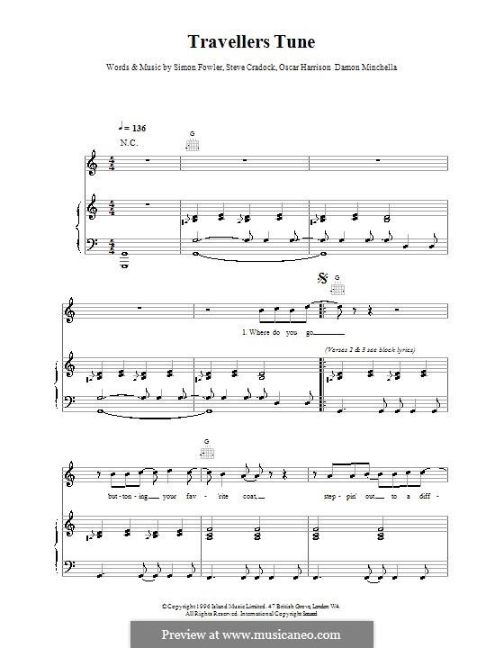 Travellers Tune (Ocean Colour Scene): Für Stimme und Klavier (oder Gitarre) by Damon Minchella, Oscar Harrison, Simon Fowler, Steve Cradock
