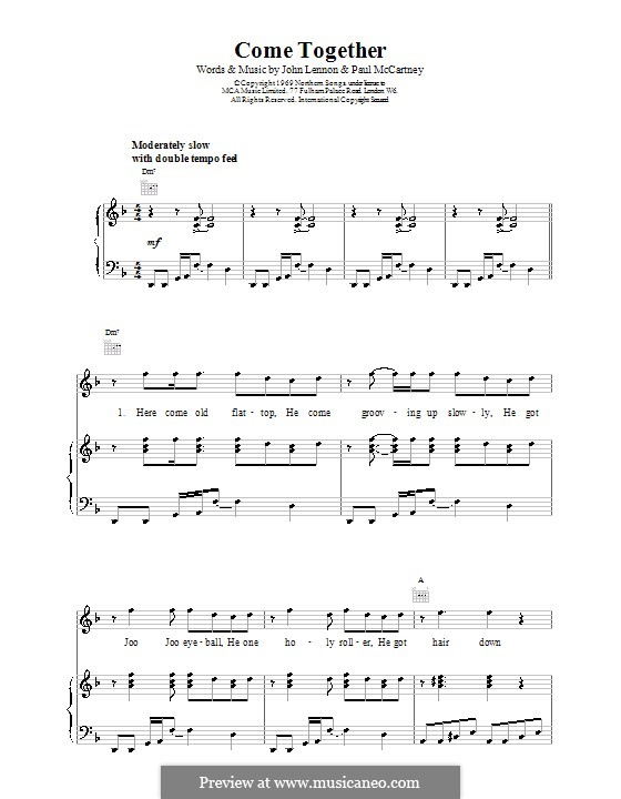 Come Together (The Beatles): Für Stimme mit Klavier oder Gitarre (D Minor) by John Lennon, Paul McCartney