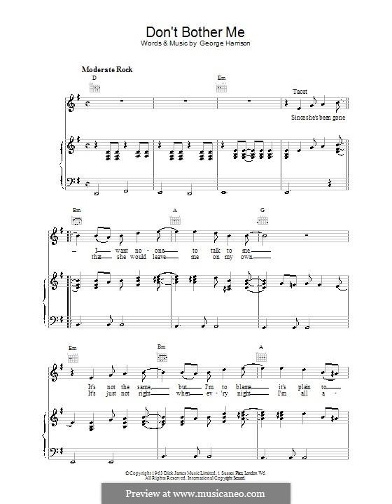 Don't Bother Me (The Beatles): Für Stimme und Klavier (oder Gitarre) by George Harrison