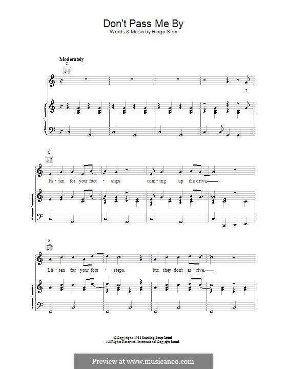Don't Pass Me By (The Beatles): Für Stimme und Klavier (oder Gitarre) by Ringo Starr