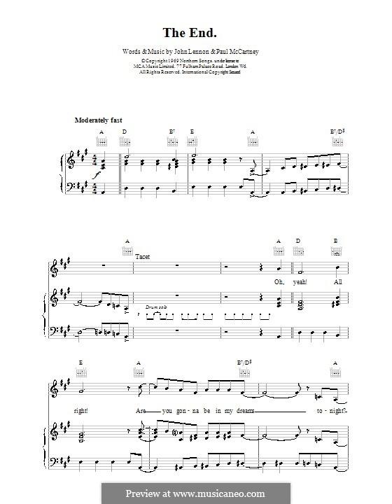 The End (The Beatles): Für Stimme und Klavier (oder Gitarre) by John Lennon, Paul McCartney