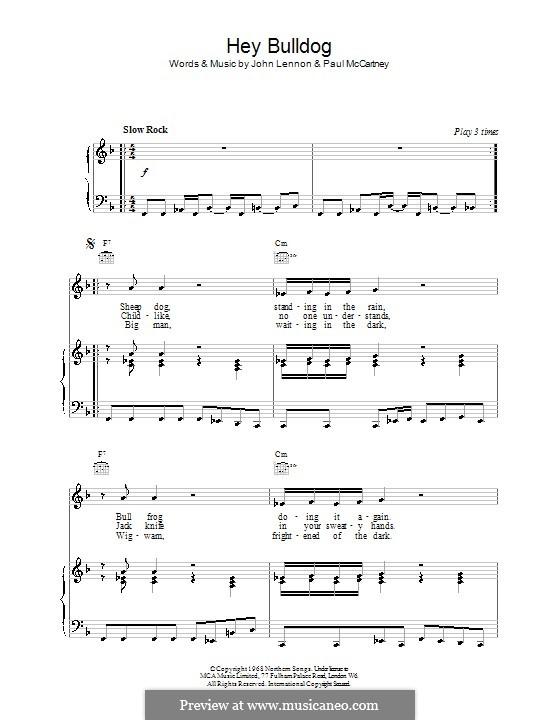 Hey Bulldog (The Beatles): Für Stimme und Klavier oder Gitarre (F-Dur) by John Lennon, Paul McCartney