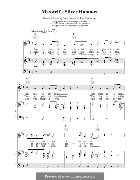 Maxwell's Silver Hammer (The Beatles): Für Stimme und Klavier (oder Gitarre) by John Lennon, Paul McCartney