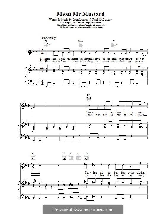 Mean Mr. Mustard (The Beatles): Für Stimme und Klavier (oder Gitarre) by John Lennon, Paul McCartney