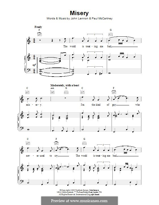 Misery (The Beatles): Für Stimme und Klavier (oder Gitarre) by John Lennon, Paul McCartney