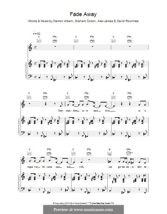 Fade Away (Blur): Für Stimme und Klavier (oder Gitarre) by Alex James, Damon Albarn, David Rowntree, Graham Coxon