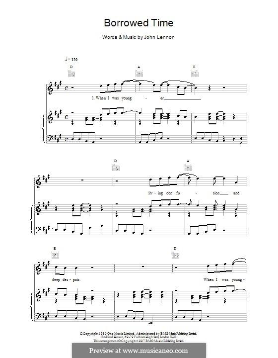 Borrowed Time: Für Stimme und Klavier (oder Gitarre) by John Lennon