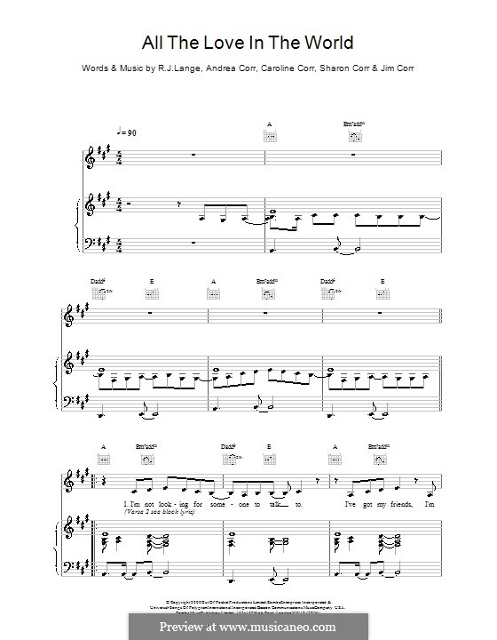 All the Love in the World (The Corrs): Für Stimme und Klavier (oder Gitarre) by Andrea Corr, Caroline Corr, Jim Corr, Robert John Lange, Sharon Corr