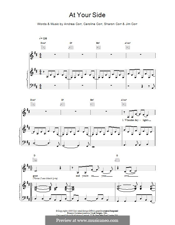 At Your Side (The Corrs): Für Stimme und Klavier (oder Gitarre) by Andrea Corr, Caroline Corr, Jim Corr, Sharon Corr