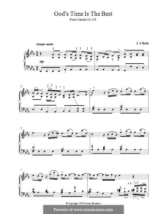 Gottes Zeit ist die allerbeste Zeit, BWV 106: Fragment, für Klavier by Johann Sebastian Bach