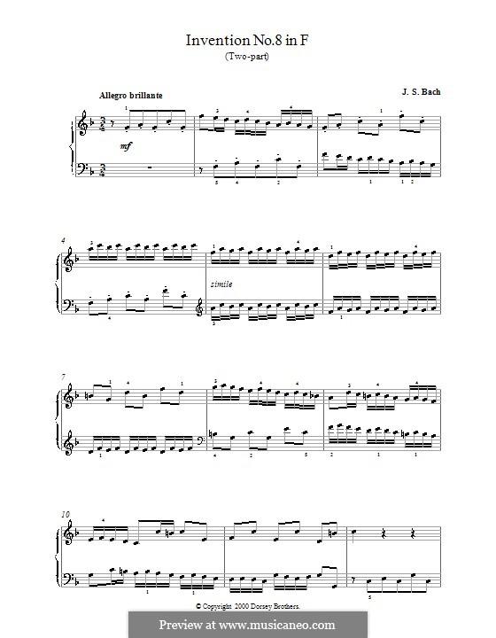 Nr.8 in F-dur, BWV 779: Für Klavier (mit Fingersatz) by Johann Sebastian Bach