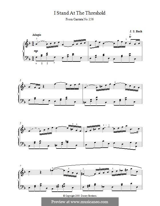Ich steh mit einem Fuss im Grabe, BWV 156: Sinfonia, für Klavier by Johann Sebastian Bach