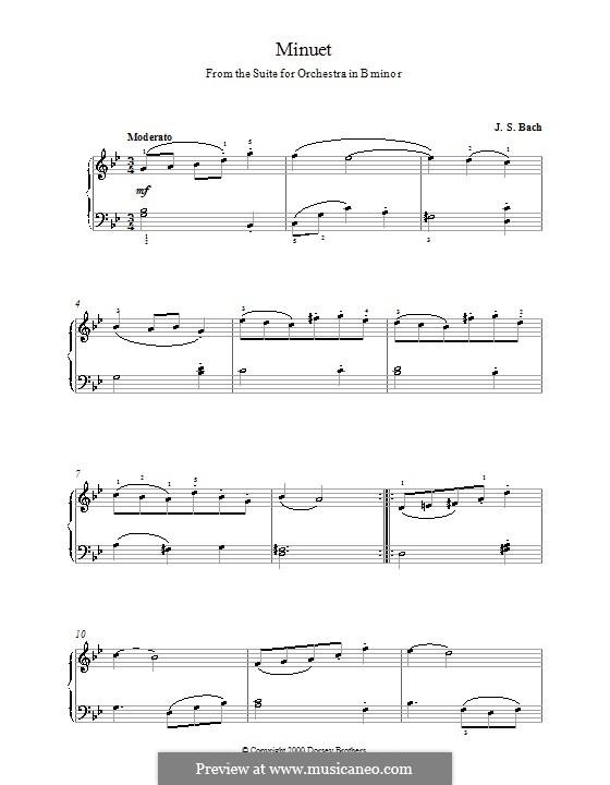 Orchestersuite Nr.2 in h-Moll, BWV 1067: Menuett. Version für Klavier by Johann Sebastian Bach