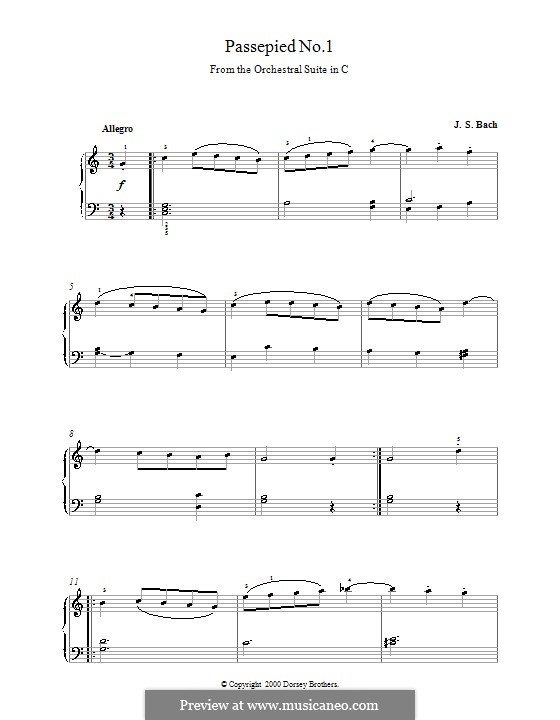 Orchestersuite Nr.1 in C-Dur, BWV 1066: Passepied No.1, for Piano by Johann Sebastian Bach