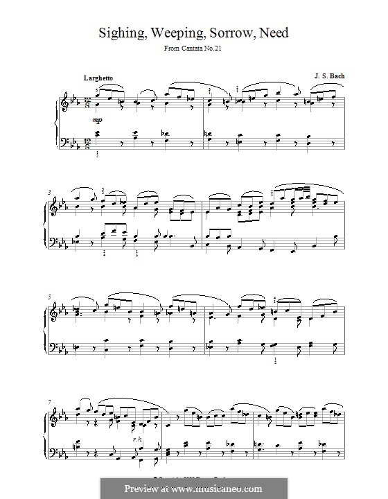 Ich hatte viel Bekümmernis, BWV 21: Seufzer, Traenen, Kummer, Not, für Klavier by Johann Sebastian Bach