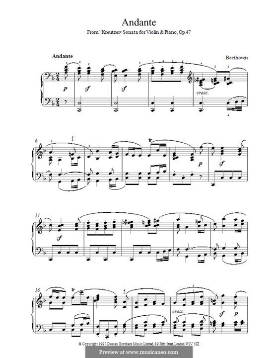 Sonate für Violine und Klavier Nr.9 'Kreutzer', Op.47: Teil II. Version für Klavier by Ludwig van Beethoven
