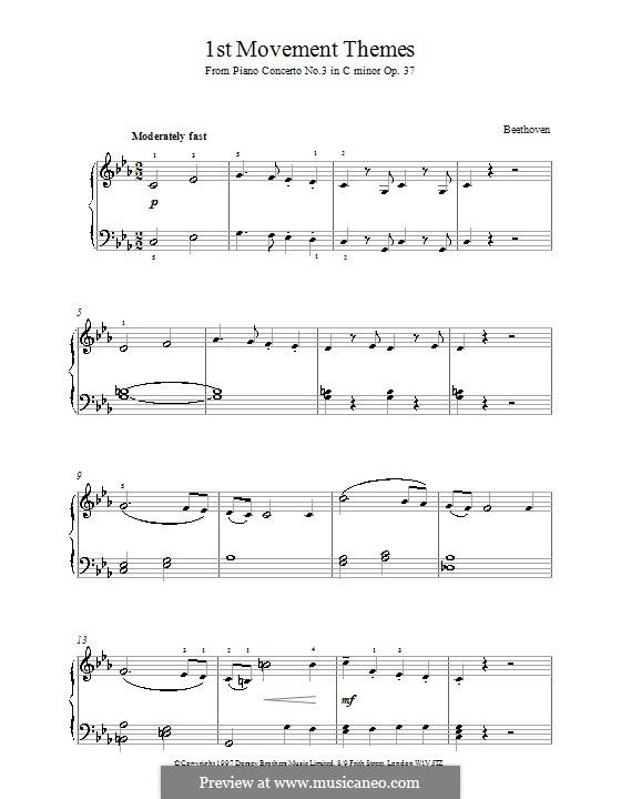 Konzert für Klavier und Orchester Nr.3, Op.37: Teil I (Thema). Version für Klavier by Ludwig van Beethoven