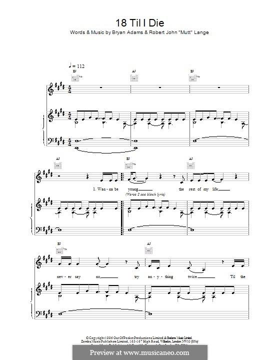 18 'Til I Die: Für Stimme und Klavier (oder Gitarre) by Bryan Adams, Robert John Lange