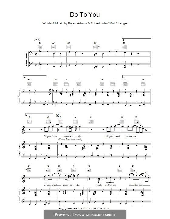 Do To You: Für Stimme und Klavier (oder Gitarre) by Bryan Adams