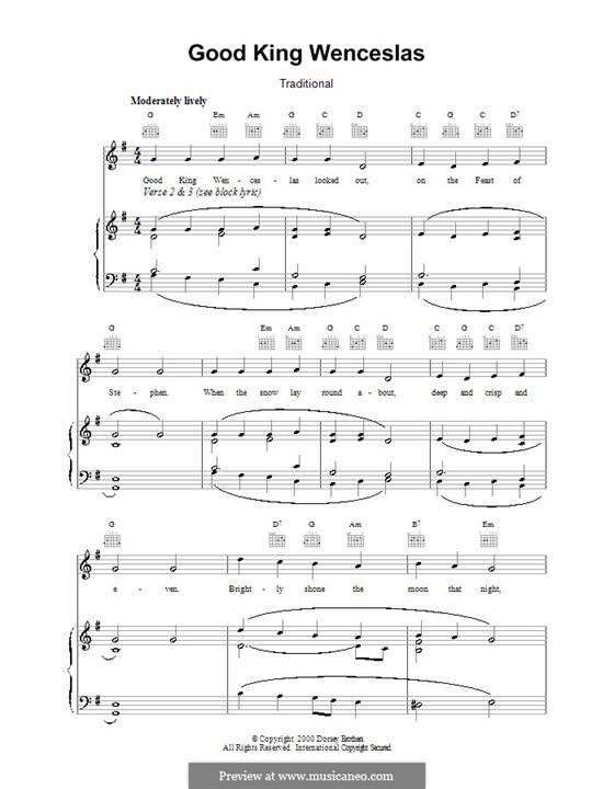 Good King Wenceslas: Für Stimme und Klavier (oder Gitarre) by folklore