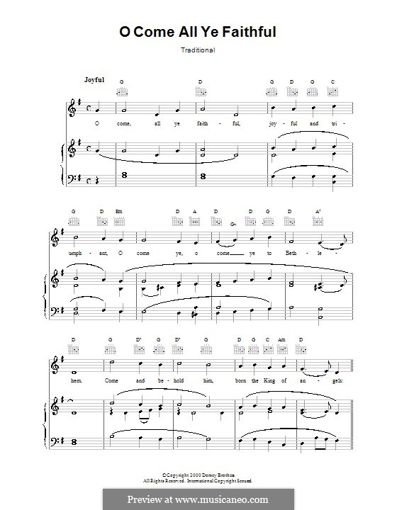 O Come, All Ye Faithful (Printable Scores): Für Stimme und Klavier (oder Gitarre) by John Francis Wade