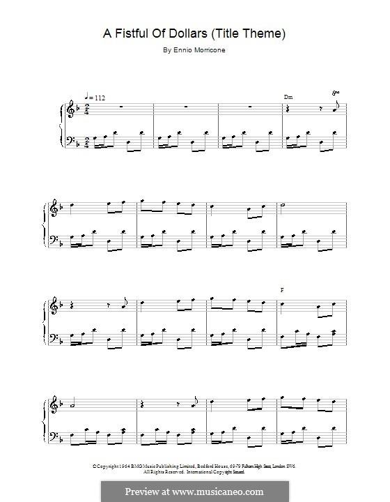 A Fistful of Dollars (Title Theme): Für Klavier by Ennio Morricone