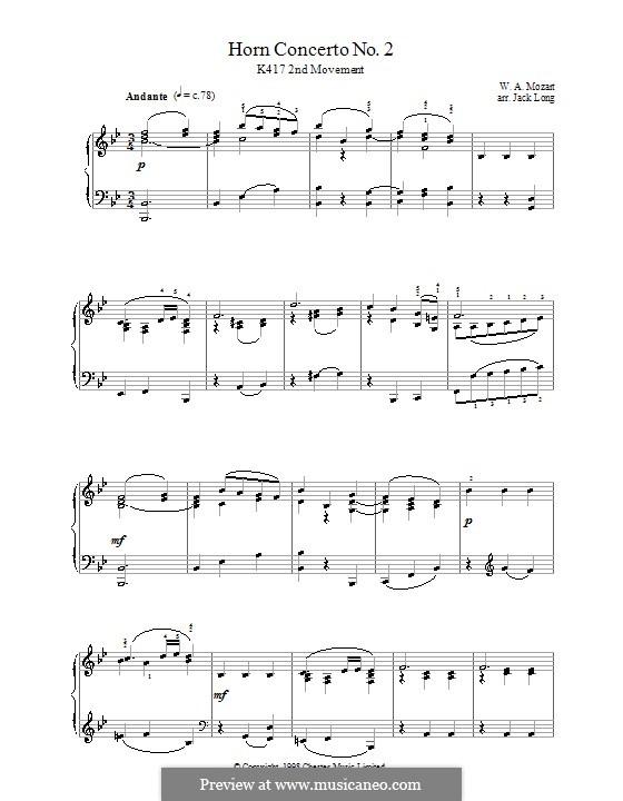 Konzert für Horn und Orchester Nr.2 in Es-Dur, K.417: Andante. Version für Klavier by Wolfgang Amadeus Mozart