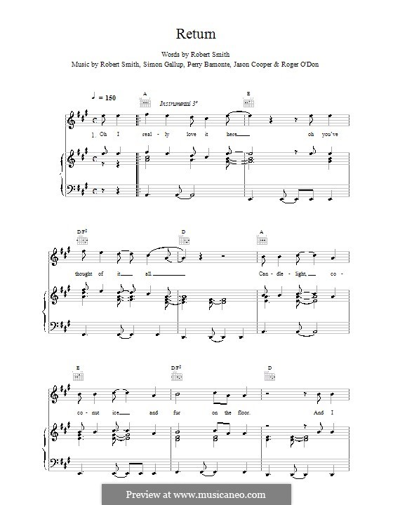Return (The Cure): Für Stimme und Klavier (oder Gitarre) by Robert Gary Smith