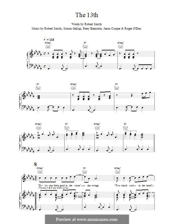 The 13th (The Cure): Für Stimme und Klavier (oder Gitarre) by Robert Gary Smith