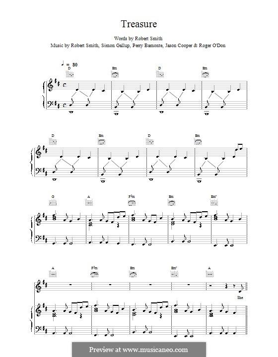 Treasure (The Cure): Für Stimme und Klavier (oder Gitarre) by Robert Gary Smith