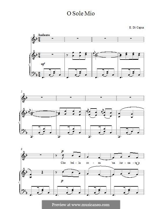 O Sole Mio: Für Stimme und Klavier (F-Dur) by Eduardo di Capua