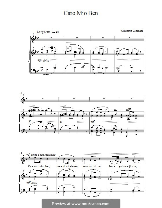 Caro mio ben (O Maiden Dear): Für Stimme und Klavier by Tommaso Giordani