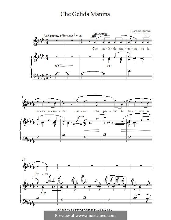 Che gelida manina: Für Stimme und Klavier by Giacomo Puccini