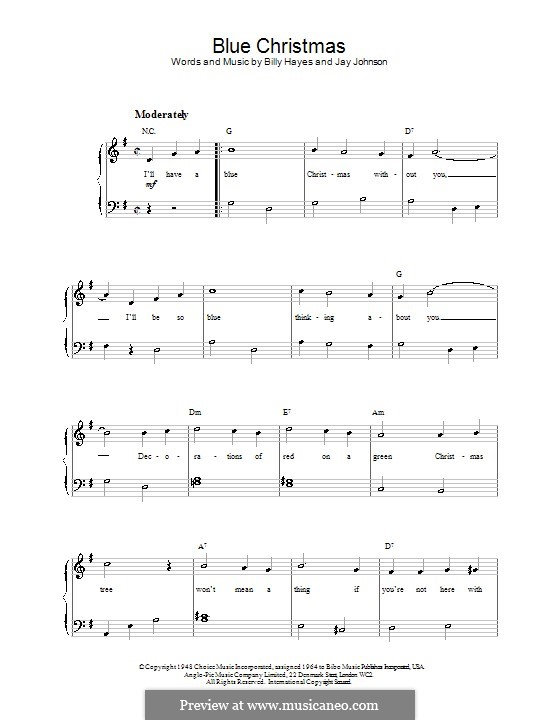 Blue Christmas, for Piano: Sehr leichte Fassung (G Major) by Billy Hayes, Jay Johnson