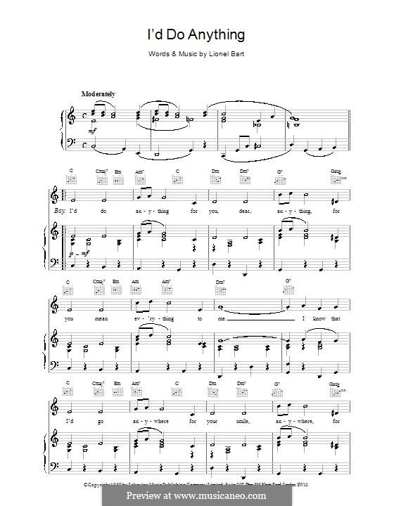 I'd Do Anything (from Oliver!): Für Stimme und Klavier (oder Gitarre) by Lionel Bart