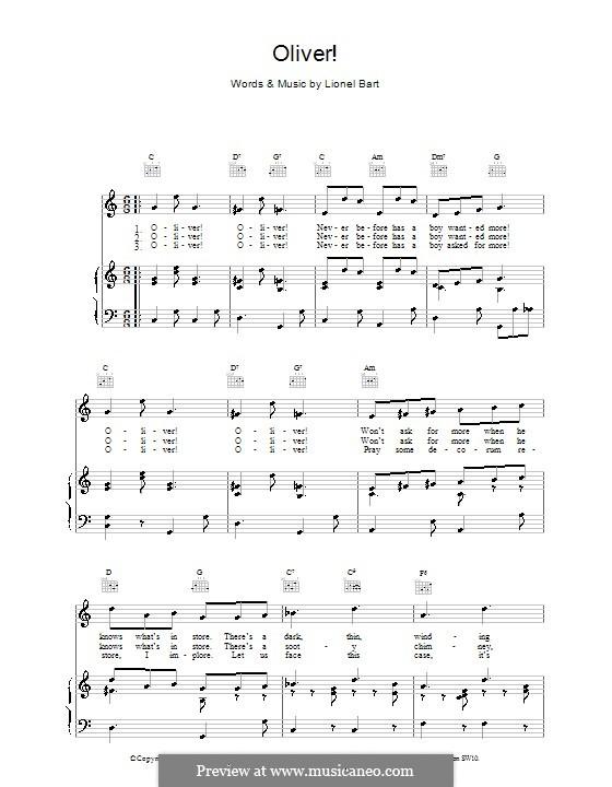 Oliver!: Für Stimme und Klavier (oder Gitarre) by Lionel Bart