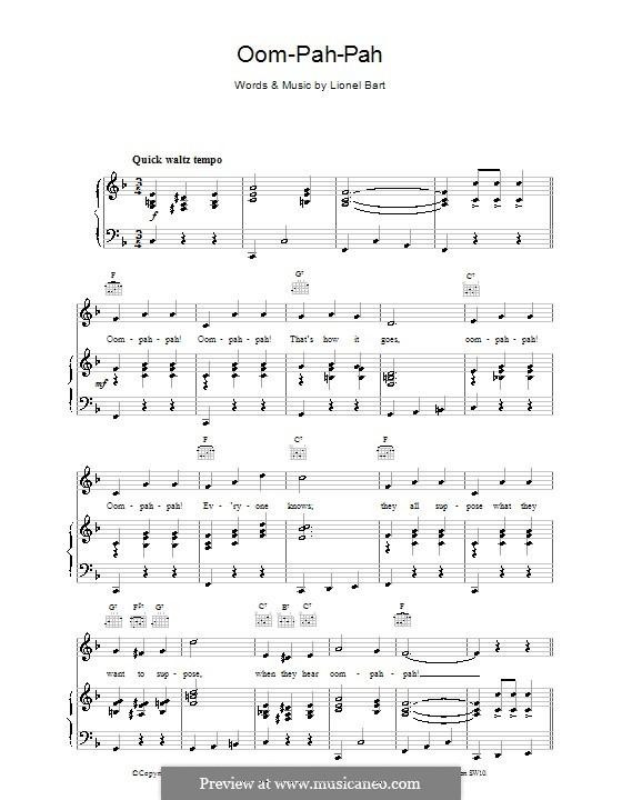 Oom-Pah-Pah (from Oliver!): Für Stimme und Klavier (oder Gitarre) by Lionel Bart