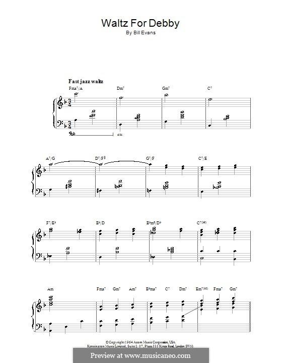 Waltz for Debby: Für Klavier by Bill Evans