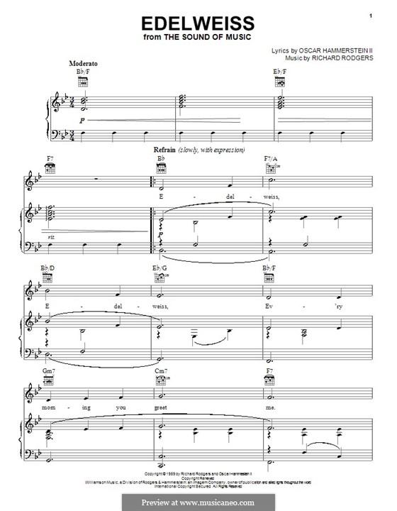 Edelweiss (from The Sound of Music): Für Stimme und Klavier oder Gitarre (B-Dur) by Richard Rodgers
