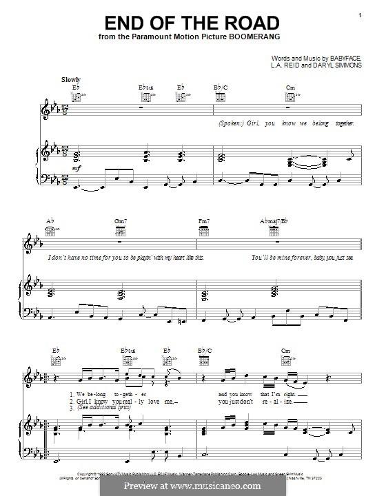 End of the Roads (Boyz II Men): Für Stimme und Klavier (oder Gitarre) by L.A. Reid, Daryl Simmons, Kenneth 'Babyface' Edmonds